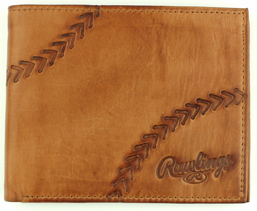 Line Drive Tan Leather Baseball Bifold Wallet by Rawlings<br>ONLY 1 LEFT!