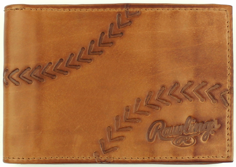 Line Drive Tan Leather Baseball Front Pocket Wallet by Rawlings<br>LESS THAN 6 LEFT!