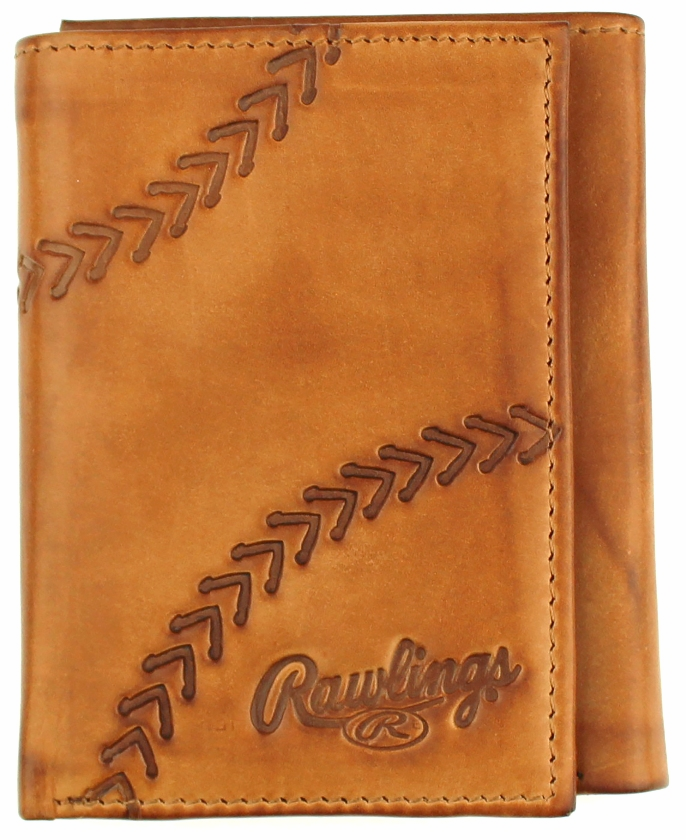 Line Drive Tan Leather Baseball Trifold Wallet by Rawlings<br>LESS THAN 6 LEFT!