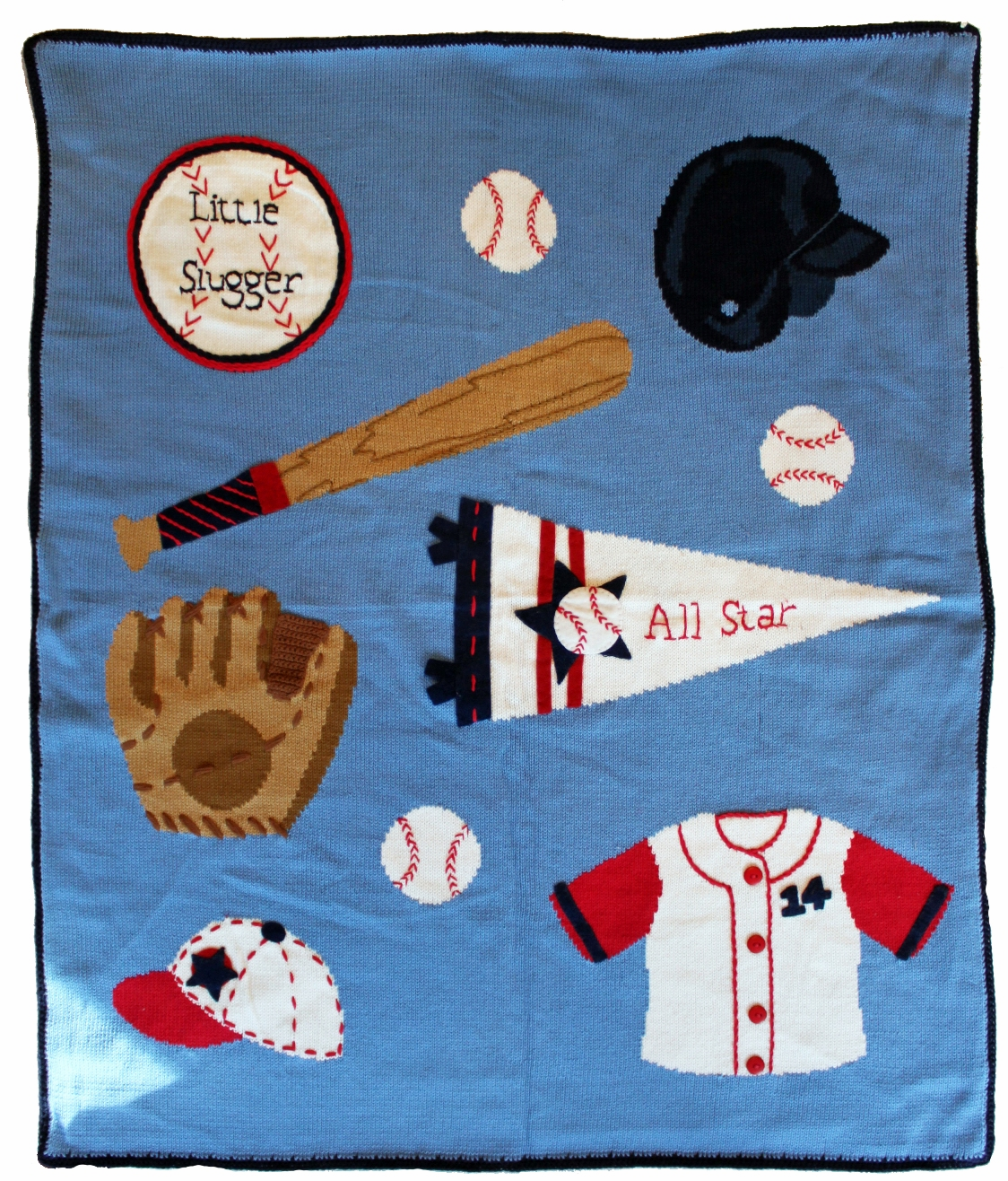 Little Slugger Baseball Applique Baby Blanket<br>ONLY 4 LEFT!