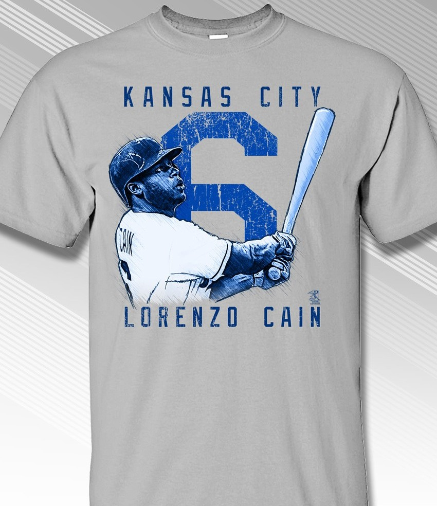 Lorenzo Cain Rough Cut Kansas City 6 T-Shirt<br>Short or Long Sleeve<br>Youth Med to Adult 4X