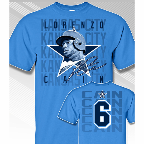 Lorenzo Cain Star Power T-Shirt<br>Short or Long Sleeve<br>Youth Med to Adult 4X
