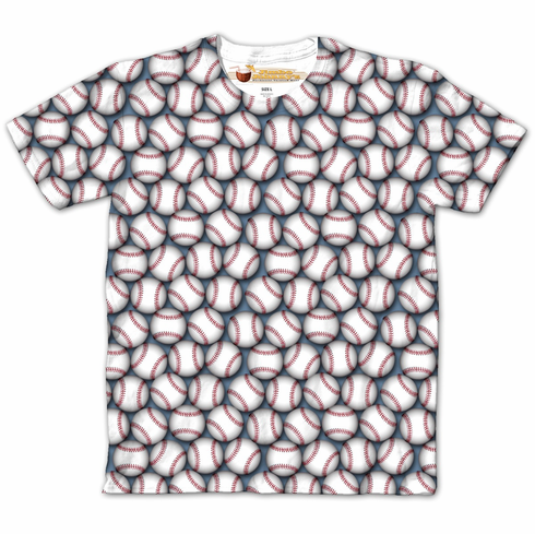 Lots of Baseballs Crew Design Sublimated Adult T-Shirt<br>ADULT S OR M