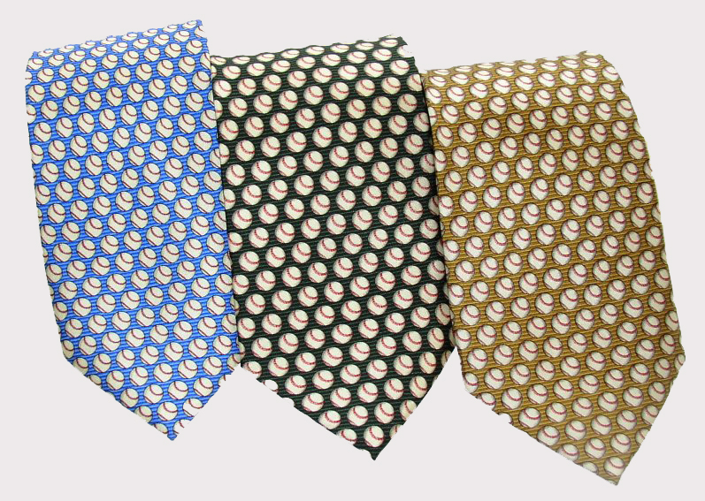 Lots of Baseballs Men's Silk Ties<br>Blue, Green or Gold
