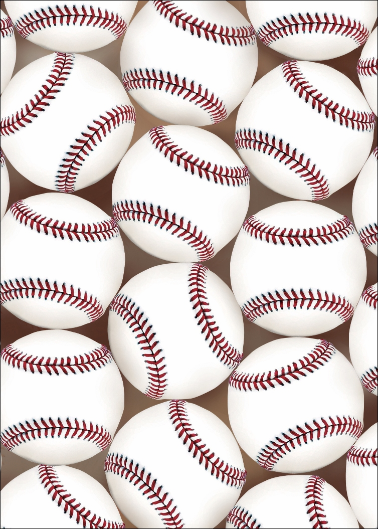 "Pack of 10 ""Baseballs"" 5x7 Note Cards"