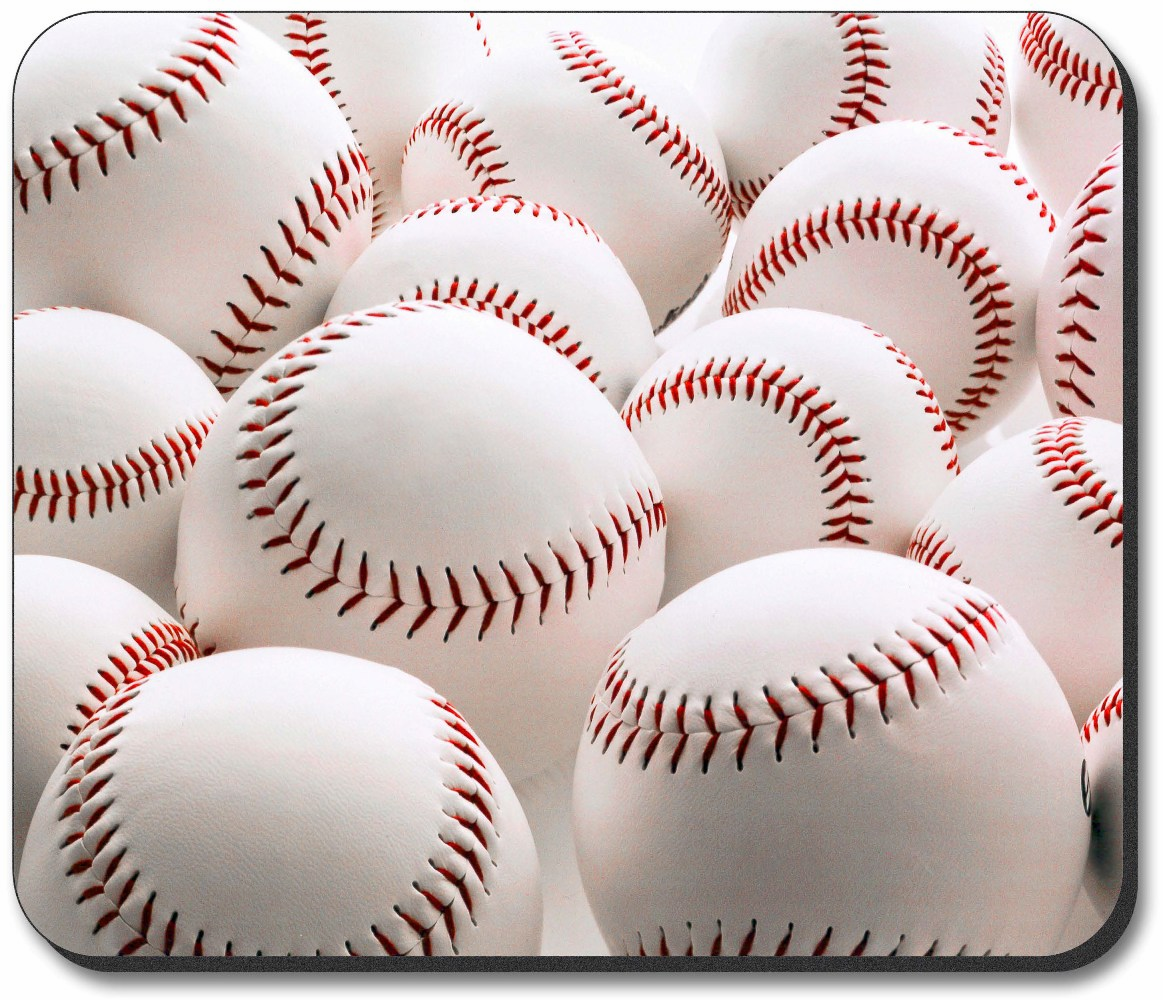 Lots of White Baseballs Mouse Pad<br>ONLY 3 LEFT!