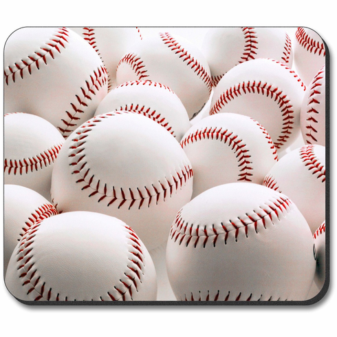 Lots of White Baseballs Mouse Pad<br>ONLY 4 LEFT!