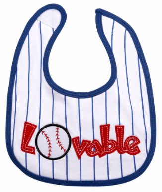 Lovable Baseball Baby Bib