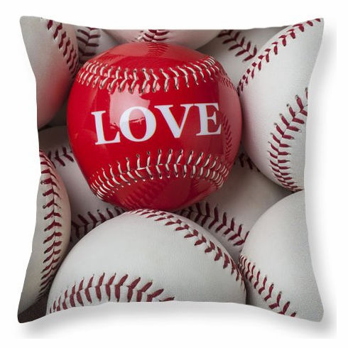 Love Baseball Square Pillow<br>5 SIZES AVAILABLE!