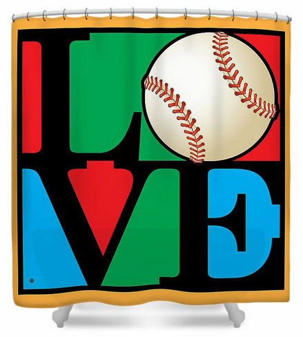 Love Baseball Square Shower Curtain