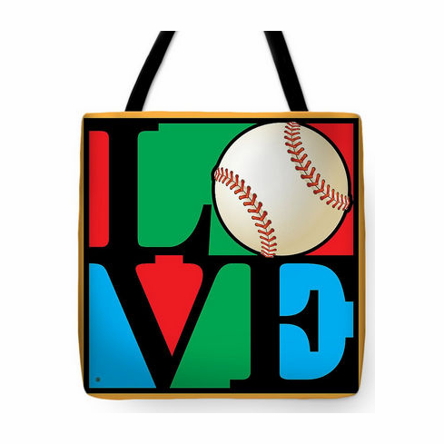 Love Baseball Square Tote Bag<br>3 SIZES AVAILABLE!