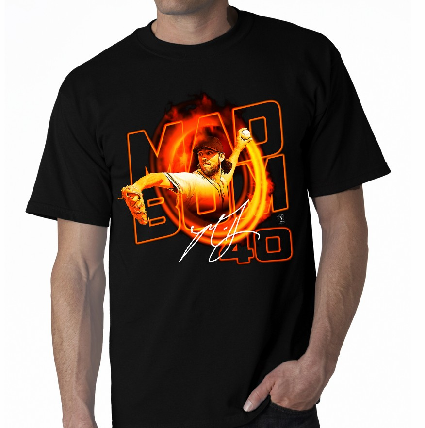 Madison Bumgarner MAD BUM 40 Heat T-Shirt<br>Short or Long Sleeve<br>Youth Med to Adult 4X