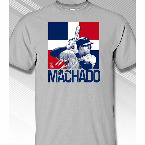 Manny Machado Dominican Republic Flag T-Shirt<br>Short or Long Sleeve<br>Youth Med to Adult 4X