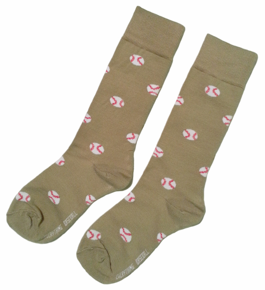 Men's Khaki Baseball Dress Socks