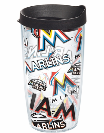 Miami Marlins All Over Wrap Set of Cups with Lids by Tervis