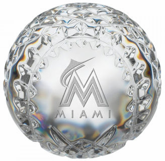 Miami Marlins Crystal Baseball by Waterford<br>ONLY 1 LEFT!