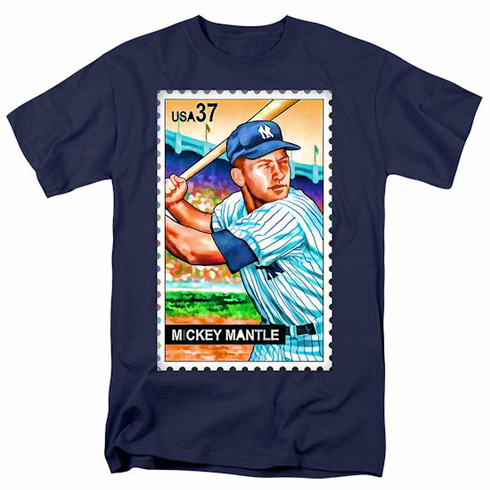 Mickey Mantle Stamp T-Shirt<br>Adult S-2X