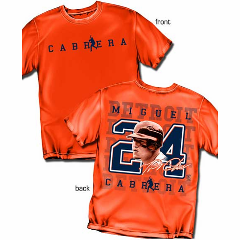 Miguel Cabrera Silhouette Number T-Shirt<br>Short or Long Sleeve<br>Youth Med to Adult 4X