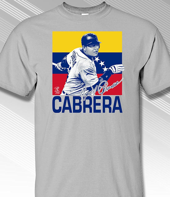 Miguel Cabrera Venezuela Flag T-Shirt<br>Short or Long Sleeve<br>Youth Med to Adult 4X