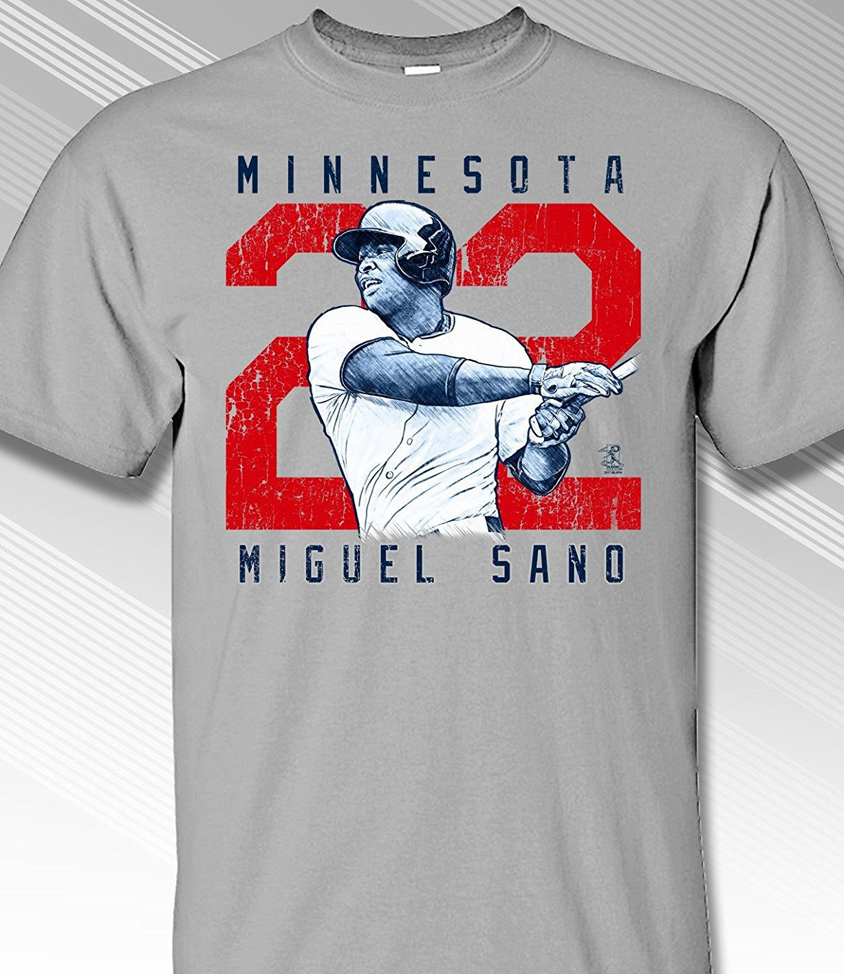 Miguel Sano Rough Cut Minnesota 22 T-Shirt<br>Short or Long Sleeve<br>Youth Med to Adult 4X