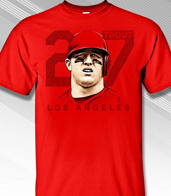 Mike Trout 27 Portrait T-Shirt<br>Short or Long Sleeve<br>Youth Med to Adult 4X
