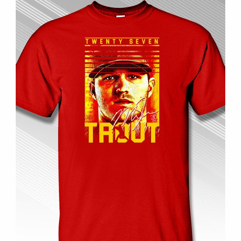 Mike Trout Game Face T-Shirt<br>Short or Long Sleeve<br>Youth Med to Adult 4X