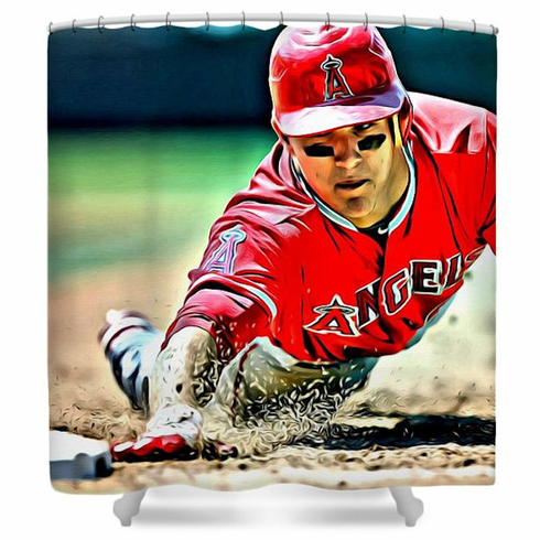 Mike Trout LA Angels Baseball Shower Curtain