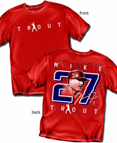 Mike Trout Silhouette Number T-Shirt<br>Short or Long Sleeve<br>Youth Med to Adult 4X