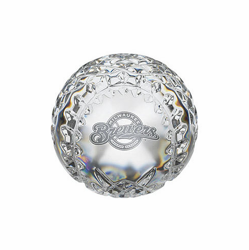 Milwaukee Brewers Crystal Baseball by Waterford<br>ONLY 1 LEFT!