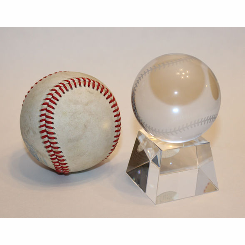 Mini Etched Glass Baseball with Stand<br>ONLY 1 LEFT!