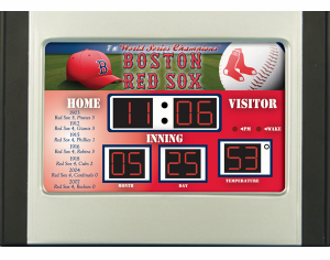 MLB Team Baseball Scoreboard Desk Clock with Alarm