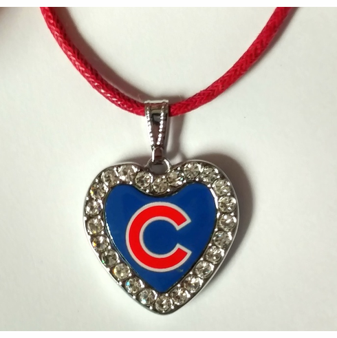 MLB Team Crystal Heart Necklace