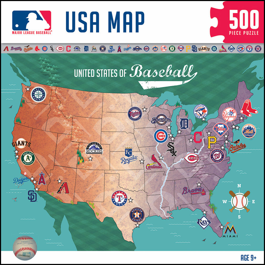 MLB USA Map 500pc Baseball Puzzle<br>LESS THAN 6 LEFT!