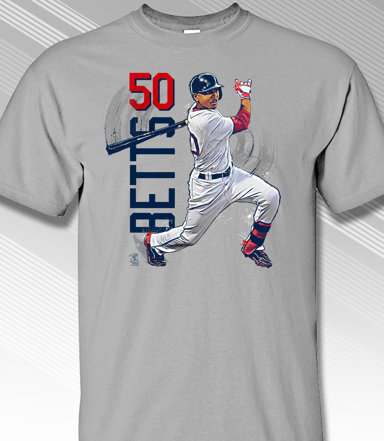 Mookie Betts Swing in Motion Boston 50 T-Shirt<br>Short or Long Sleeve<br>Youth Med to Adult 4X