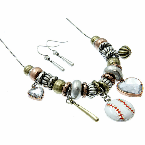 Multi Color Baseball Necklace and Earring Set