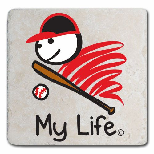 My Life Baseball Marble Stone Coaster<br>ONLY 3 LEFT!