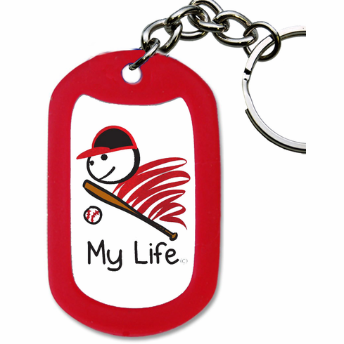 My Life Baseball Red Dog Tag Key Chain<br>ONLY 2 LEFT!
