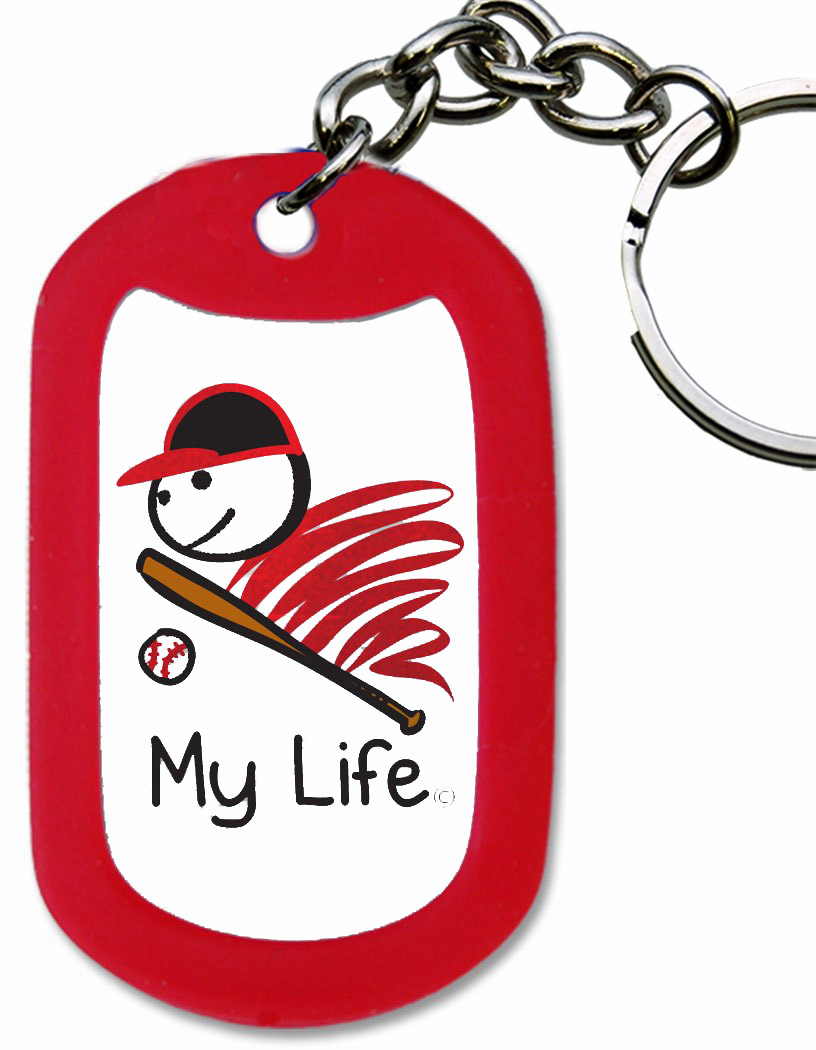 My Life Baseball Red Dog Tag Key Chain<br>ONLY 3 LEFT!