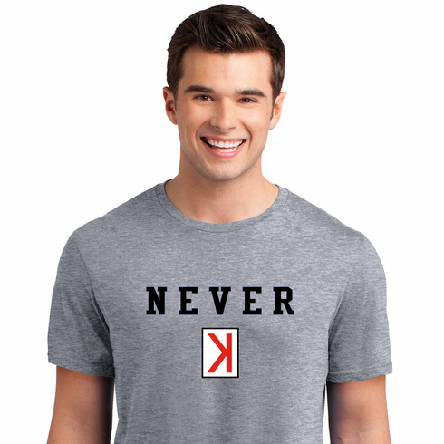 Never K Baseball T-Shirt<br>Choose Your Color<br>Youth Med to Adult 4X