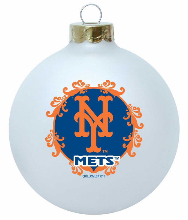 New York Mets Large Glass Ball Ornament<br>ONLY 1 LEFT!