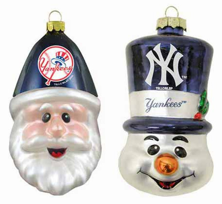 New York Yankees 2-Pack Glass Ornament Set