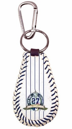 New York Yankees 27 World Championships Baseball Seam Keychain