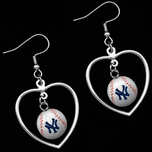 New York Yankees 3D Baseball Dangle Heart Earrings<br>ONLY 8 LEFT!