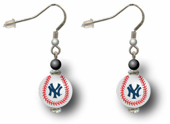 New York Yankees 3D Baseball Dangle Hook Earrings<br>ONLY 5 LEFT!