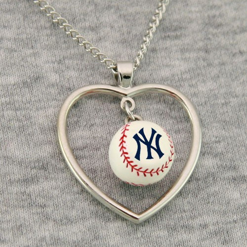 New York Yankees 3D Baseball Heart Pendant Necklace<br>LESS THAN 10 LEFT!