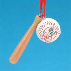 New York Yankees Baseball & Bat Ornament<br>ONLY 1 LEFT!