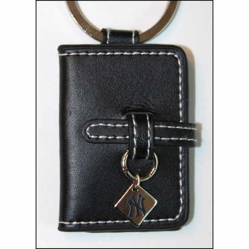 New York Yankees Black Leather Photo Key Chain<br>ONLY 2 LEFT!