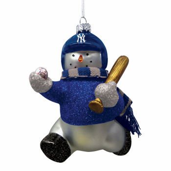 New York Yankees Blown Glass Snowman Ornament<br>ONLY 1 LEFT!