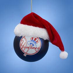 New York Yankees Glass Ball with Santa Hat Ornament<br>ONLY 4 LEFT!