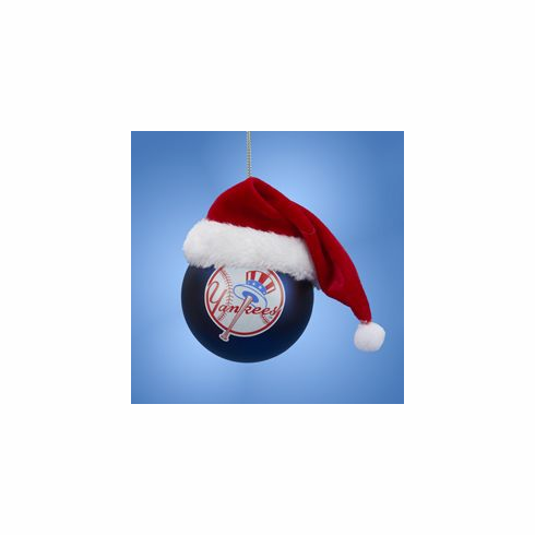 New York Yankees Glass Ball with Santa Hat Ornament<br>ONLY 2 LEFT!
